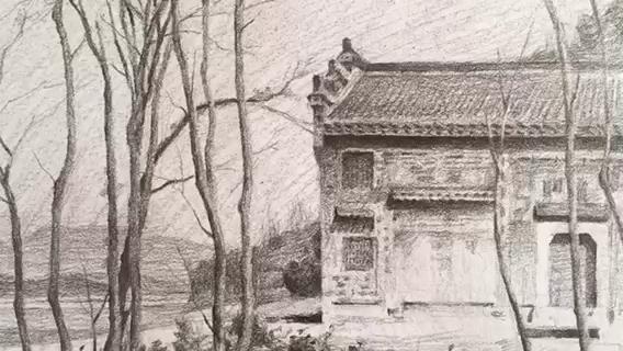 楼塔古祠堂(未完成)——万松岭画室袁文涛老师作品
