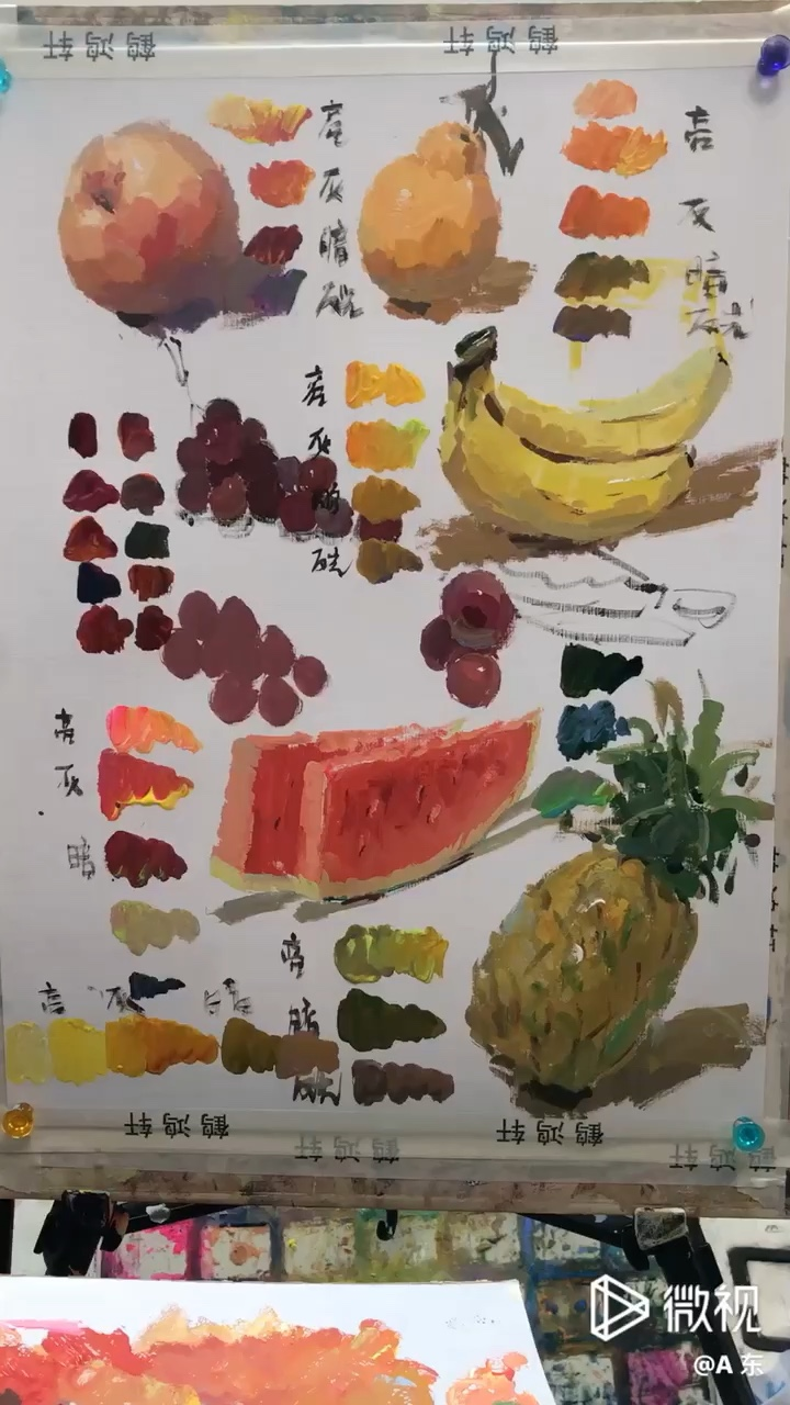 色彩静物 单体练习 红、黄苹果 红、绿葡萄 橘子 西瓜 菠萝等等 调色:亮、灰、暗、投影、反光 如何深入、如何做体积