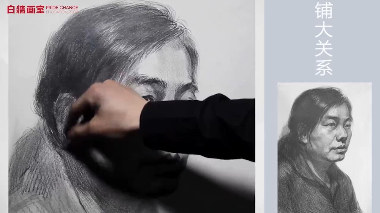 素描头像-女中年-四分之三(四)