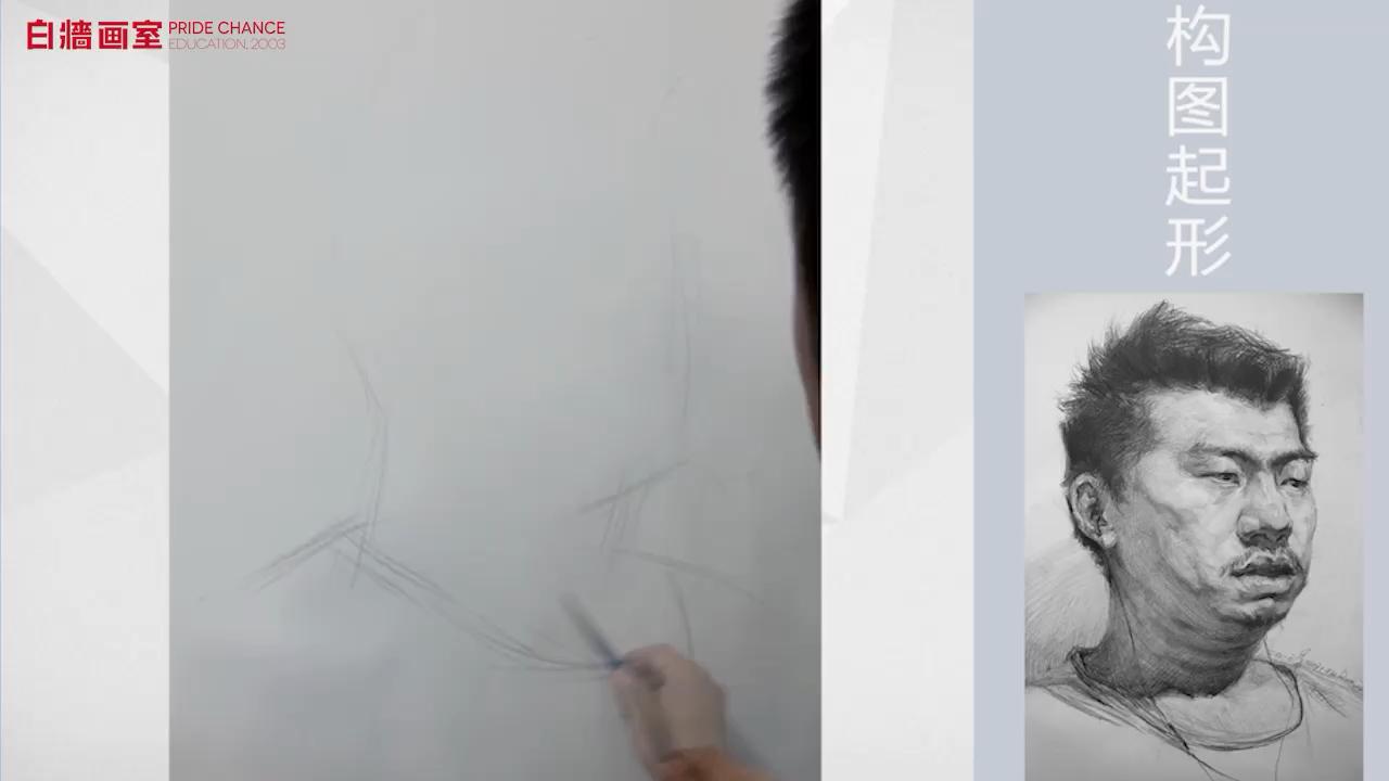 【美术高考培训】素描-头像-男中年-四分之三(一)