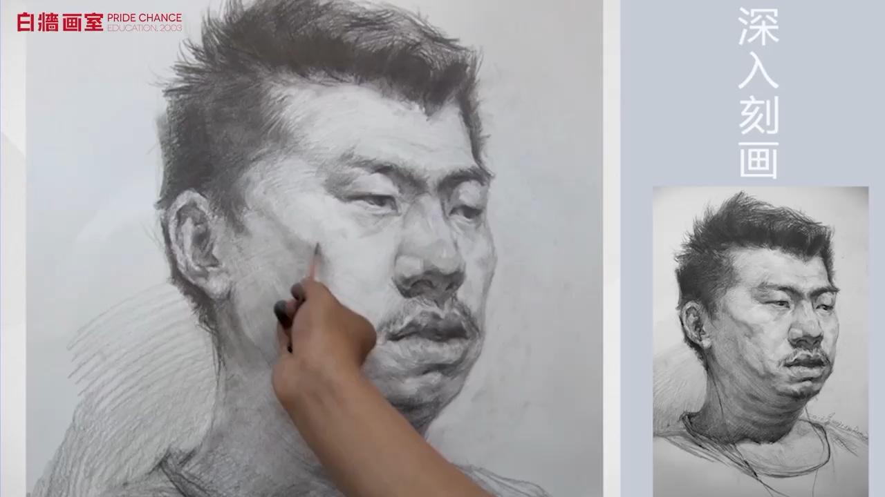 【美术高考培训】素描-头像-男中年-四分之三(三)