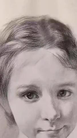 小女孩绘画技巧。