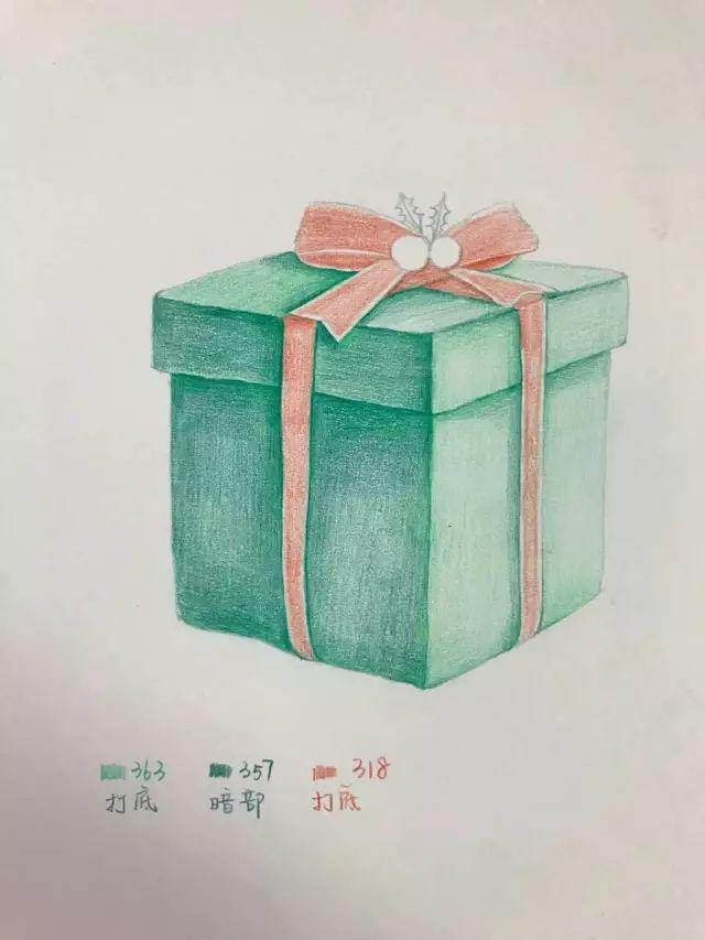 手绘教程 | 礼物盒 小教程~(色号有标注)