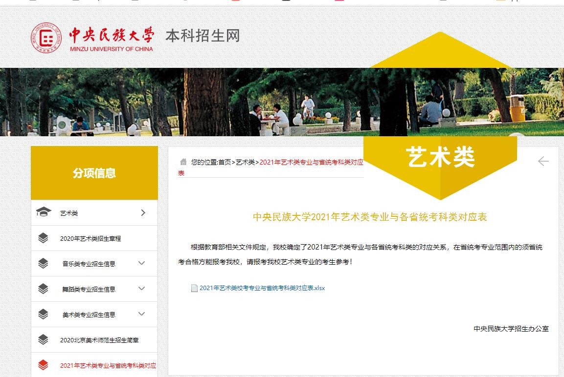【艺考快讯】中央民族大学2021年艺术类专业与各省统考科类对应表公布!