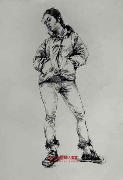 #北京周达画室#  速写范画步骤 ,速写画不好的同学速速转起来。[奋斗]