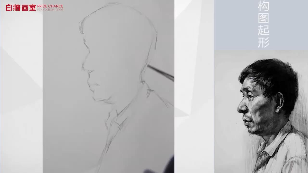 素描-頭像-男中年-側面(一)