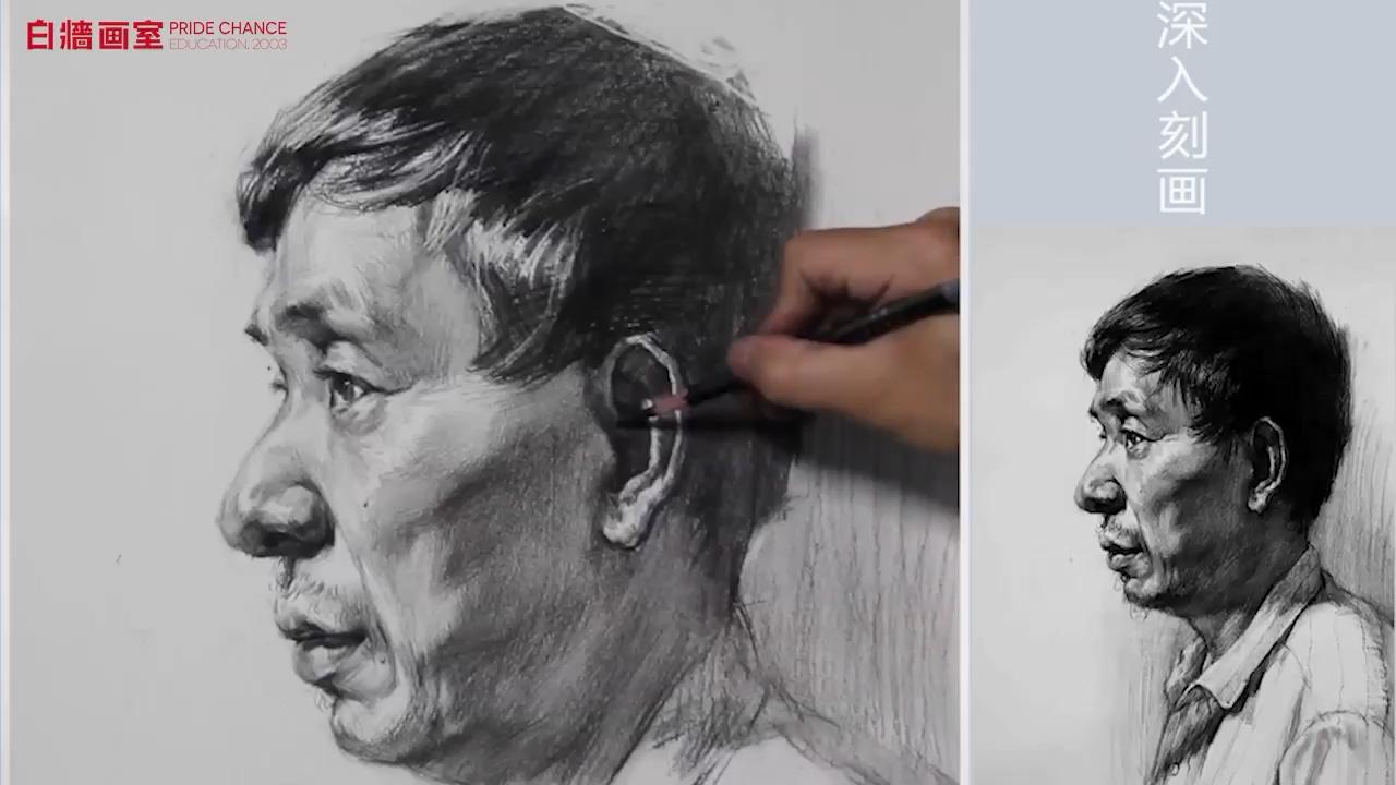 素描-頭像-男中年-側面(四)