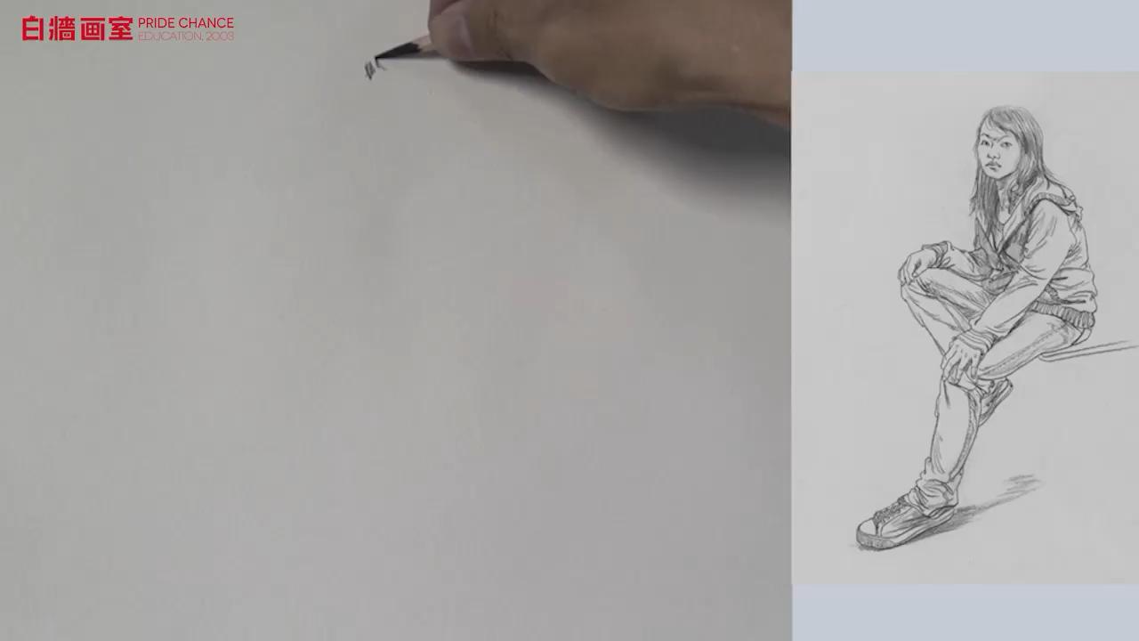 【杭州的畫室】線面速寫-單人座姿-女青年