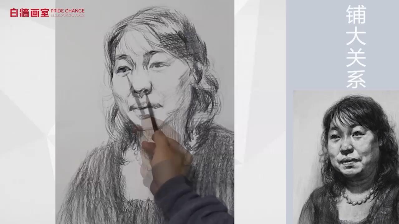 【杭州畫室】素描-頭像-女中年-正面(二)