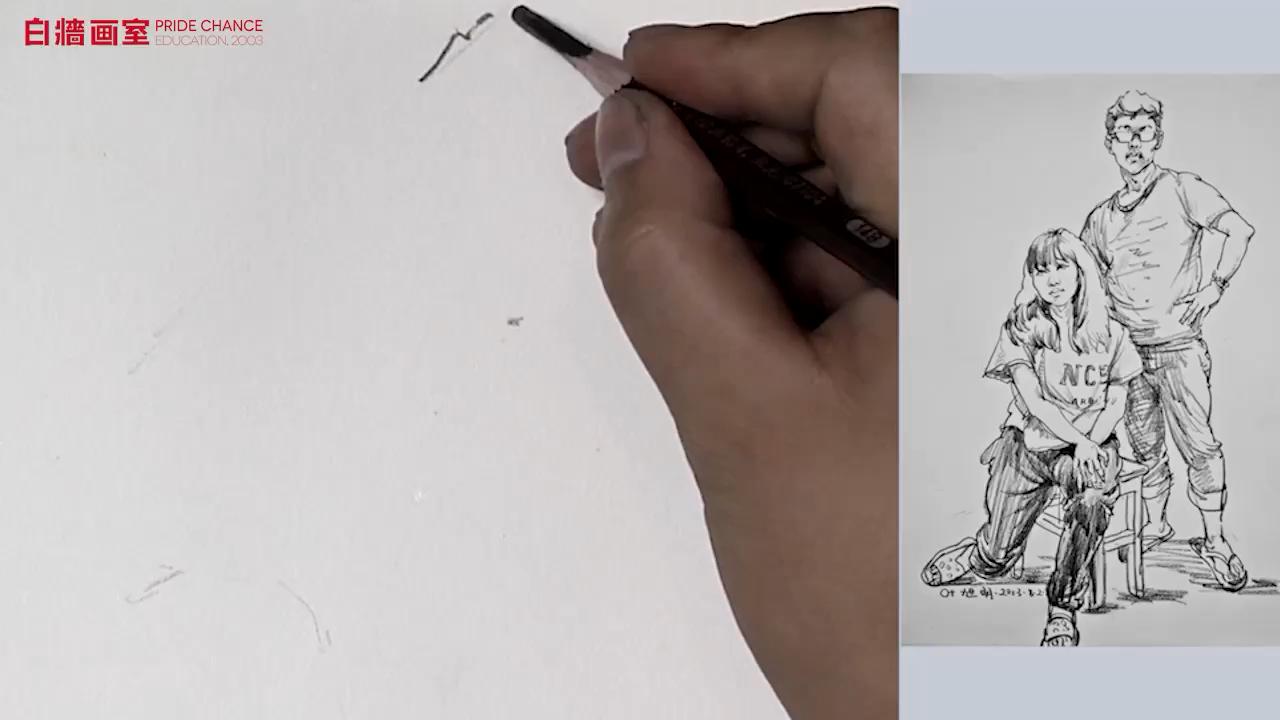 【杭州畫室】速寫-雙人-一站一坐