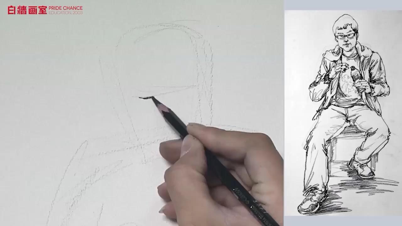 【杭州畫室】線面速寫-單人坐姿-男青年