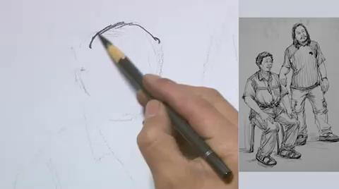 【杭州最好畫室】速寫-雙人-男中年-組合站姿
