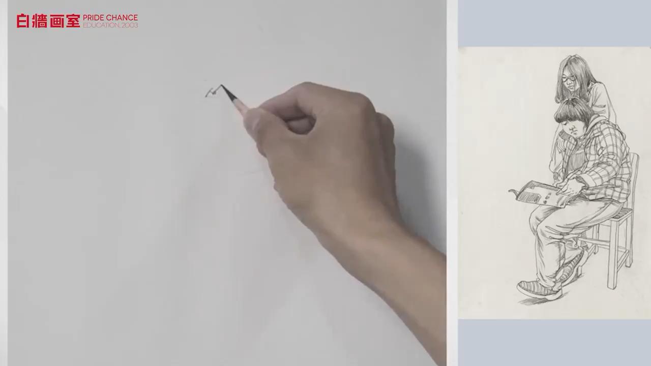 【美術高考集訓畫室】速寫-雙人-女青年-坐姿