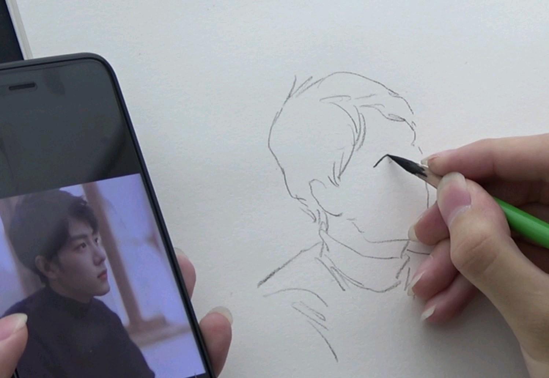 杭州将军画室|肖战速写第二弹!(毕竟是速写,有机会找素描老师画一张!)