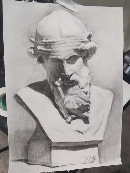 高三臨摹石膏頭像。哪里有問題各位老師指點一下。評個分吧!