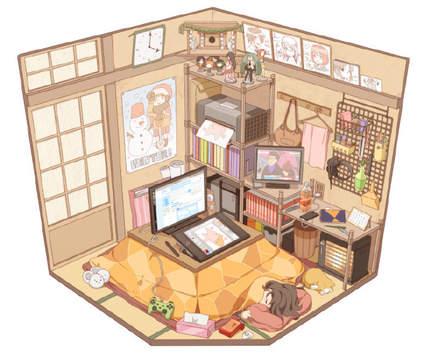 【动漫小课堂】生活气息爆表的小房内景插画, 我能在这样的屋子里待上一周不出门, 你