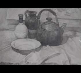 杭州山水行画室素描图1