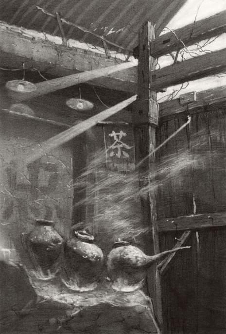 清美屹立画室素描图8