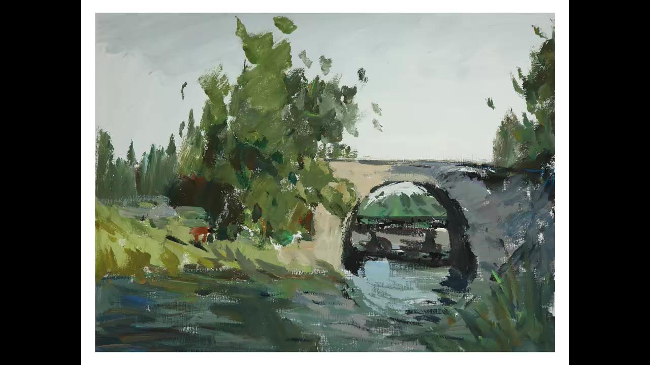 30'色彩风景《绿树和桥》