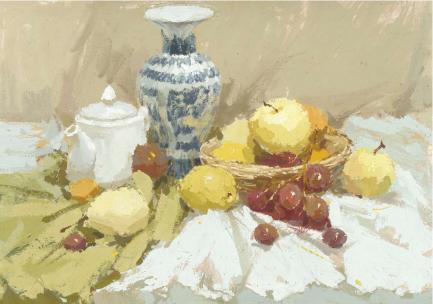 【色彩干货】色彩静物必知六大画法—薄画、厚涂法、湿画法....